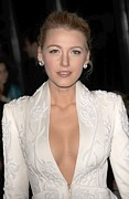 Plunging Neckline Prints - Blake Lively Wearing A Marchesa Jacket Print by Everett
