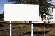 Billboard Photos - Blank Billboard on a Lawn by Skip Nall