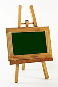 Picture Frame Framed Prints - Blank chalkboard in wood frame Framed Print by Blink Images