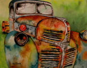 Rusty Truck Paintings - Blast from the past by Maria Barry