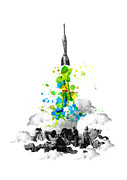 Watercolor Digital Art Prints - Blast Off Print by Budi Satria Kwan