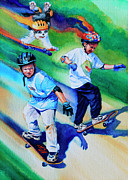 Kids Sports Art Acrylic Prints - Blasting Boarders Acrylic Print by Hanne Lore Koehler