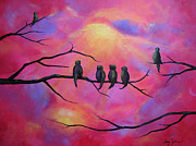 Group Of Birds Painting Posters - Blazing Ruby Sky Poster by Stacey Zimmerman
