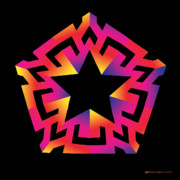 Geometric Abstraction Mixed Media - Blazing Star by Eric Edelman