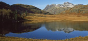 Langdale Framed Prints - Blea Tarn and the Langdale Pikes Framed Print by John Perriment