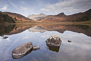 Langdale Framed Prints - Blea Tarn And The Langdale Pikes Framed Print by Julian Elliott Ethereal Light