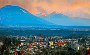Slovenia Photos - Bled City and Breg. Slovenia by Juan Carlos Ferro Duque