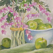 Hearts Pastels - Bleeding Hearts and Green Apples by Pat Olson