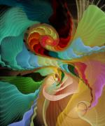 Fractal Pastels Posters - Blending into Our Souls Poster by Gayle Odsather
