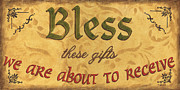 Gold Painting Posters - Bless These Gifts Poster by Debbie DeWitt