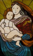 Baby Jesus Glass Art Posters - Blessed Art Thou Among Women-Mary Poster by David Gomm