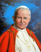 Priests Paintings - Blessed John Paul II by Richard Barone