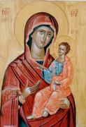 Byzantine Paintings - blessed Virgin Mary by George Siaba