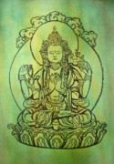 Tibetan Buddhism Drawings Posters - Blessing   Poster by Shasta Eone