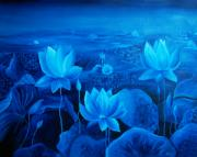 Lotus Pond Paintings - Blessing by Ramneek Narang