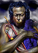 African American Male Paintings - Blessings And Curses - Miles Davis by Reggie Duffie