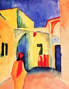 Macke Framed Prints - Blick in eine Gasse Framed Print by Pg Reproductions