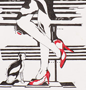 High Heeled Prints - Blind Cat Shoes Print by Steve Teets