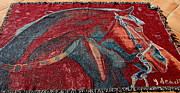 Western Art Tapestries - Textiles - Bling Horse Red Tapestry by Jodie  Scheller