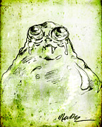 Green Monster Drawings - Blob Monster by Nada Meeks