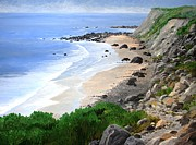 Rocky Shoreline Paintings - Block Island Beach by Keith Wilkie