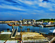 Block Prints Prints - Block Island Marina Print by Lourry Legarde