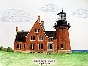 Historic Buildings Drawings Framed Prints - Block Island SE Lighthouse Framed Print by Frederic Kohli