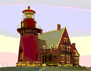 Water Vessels Mixed Media - Block Island Southeast Lighthouse by Charles Shoup