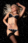 Diamond Bracelet Posters - Blond in black lingerie covered in diamonds Poster by Richard Thomas
