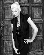 Black Dress Photos - Blonde Attitude BW by William Dey