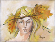 Woman Face Prints - Blonde Autumn Forward Print by Jacque Hudson-Roate
