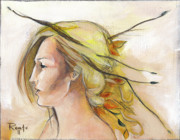 Autumn Leaf Paintings - Blonde Autumn Left by Jacque Hudson-Roate