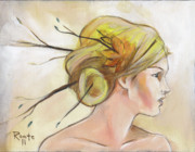 Woman Face Prints - Blonde Autumn Right Print by Jacque Hudson-Roate