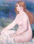 Nudes Posters - Blonde Bather II Poster by Renoir