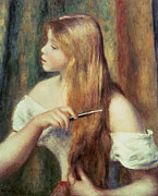 Long Blonde Hair Framed Prints - Blonde girl combing her hair Framed Print by Pierre Auguste Renoir