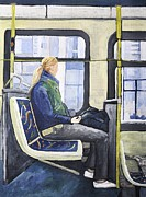 Blonde Girl On 107 Bus Montreal Print by Reb Frost
