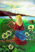 Sunrise Drawings Framed Prints - Blonde Indian Weaves Her Basket by a Lake Framed Print by Mindy Newman