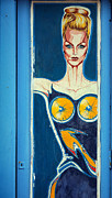 Painted Door Prints - Blonde woman in blue Print by RicardMN Photography