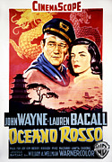 Bacall Posters - Blood Alley, John Wayne, Lauren Bacall Poster by Everett