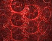 Fractal Digital Art Posters - Blood Cells Poster by Patricia Kemke