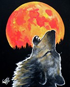Wolf Moon Posters - Blood Moon Wolf Poster by Tom Carlton