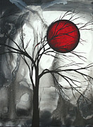 Gray Paintings - Blood of the Moon 2 by MADART by Megan Duncanson