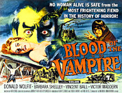 Blood Moon Posters - Blood Of The Vampire, Girl On Table Poster by Everett