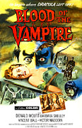 1950s Movies Photo Posters - Blood Of The Vampire, Woman On Table Poster by Everett