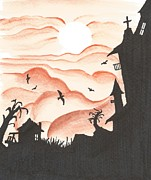 Haunted House Mixed Media Prints - Blood Red Sky Print by Anthony McCracken