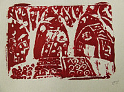 Symbology Painting Prints - Blood Rituals in Red for the Mayan Forest Agriculture with trees houses and land plots Print by M Zimmerman