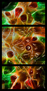 Morphed Metal Prints - Blood Work Triptych Metal Print by Peter Piatt