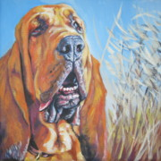 Bloodhound Posters - Bloodhound in wheat Poster by Lee Ann Shepard