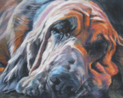 Sleeping Puppy Framed Prints - Bloodhound Sleeping Framed Print by Lee Ann Shepard