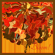 Tangerine Mixed Media Framed Prints - Bloom Framed Print by Bonnie Bruno